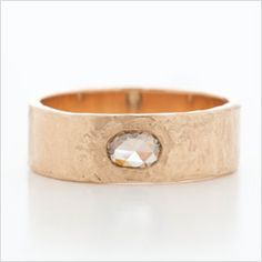 Dawes Design  Hewn Hammered Plain Band in 6mm Width with Chocolate Diamond  | Max's