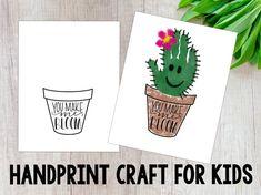 Cactus handprint craft, handprint craft for kids, you make me bloom Summer Crafts For Toddlers, Diy For Kids, Daycare Crafts, Baby Crafts, Daycare Rooms, Toddler Art, Toddler Crafts, Cactus Craft, Cactus Cactus