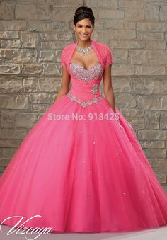 Cheap gown set, Buy Quality gowns china directly from China gown supplier Suppliers: Picture Show2015 Crystal Beaded Hot Pink Quinceanera Dress Ball Gowns with Bolero Jacket Sweetheart Lace Up Back MG260&n