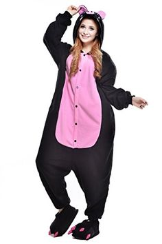 dc2118bcaf ABING Halloween Pajamas Homewear Onepiece Onesie Cosplay Costumes Kigurumi Animal  Outfit LoungewearBlack Pig Adult XL for Height    You could obtain added ...