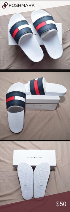 Tommy Hilfiger Mens Slides NEW! Too big for me. Never worn and includes box. Tommy Hilfiger Shoes Sandals & Flip-Flops