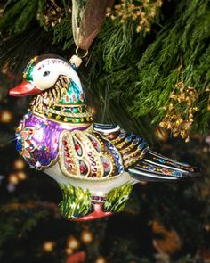Mandarin Duck Christmas Ornament by Jay Strongwater at Horchow. #Horchowholiday14 Contemporary Christmas Ornaments, Antique Christmas Ornaments, Glass Ornaments, Christmas Tree Ornaments, Southern Christmas, Cottage Christmas, Magical Christmas, Holiday Punch, Holiday Tree