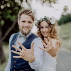 Bride and groom with wedding rings in nature. by halfpoint. Beautiful young bride and groom with wedding rings outside in green nature. Wedding Picture Poses, Wedding Poses, Wedding Shoot, Wedding Couples, Wedding Day, Wedding Rings, Outside Wedding Pictures, Bride And Groom Pictures, Church Wedding