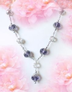 crystal necklace, hand beaded jewelry
