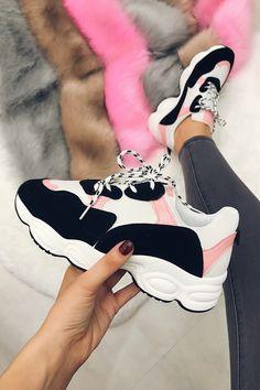 Yazmin pink   black chunky trainers 34da52d18