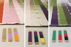 Index collection van Raw Colors - Een index van kleuren door middel van weeftechnieken. De intensiteit van het patroon loop op van 10% tot 100% . De collectie is gemaakt in het Textiellab in Tilburg (Textielmuseum)
