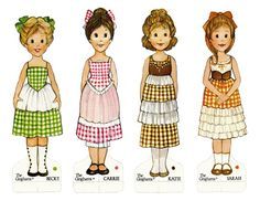 paper dolls printable-these are the Gingham girls. My fav paperdolls of all time. From l to r-- Sarah, Carrie, Katie, Becky! Paper Dolls Book, Vintage Paper Dolls, Paper Toys, Paper Crafts, Papercraft Anime, Paper Dolls Printable, Dress Up Dolls, Holly Hobbie, In Kindergarten