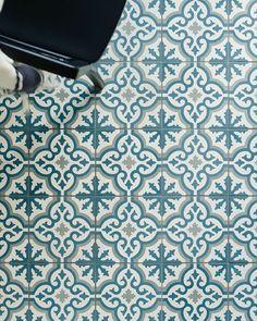 Old Havana Cabanas handmade cement encaustic tile shown on the floor Blue Mosaic Tile, Ceramic Floor Tiles, Bathroom Floor Tiles, Tile Floor, Wall Tile, Kitchen Tiles, Cement Tiles, Kitchen Faucets, Tile Art