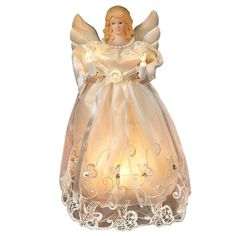 Kurt Adler 10-inch UL 10-light Gold/Ivory Angel Treetop (Gold Ornaments) (Plastic)