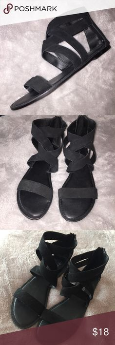 Suede Criss Cross Sandals NWOT never worn black suede sandals with zippers up the back. Straps cross cross over the ankles. Size 40 (US 10) Really cute for the summer Boohoo Shoes Sandals