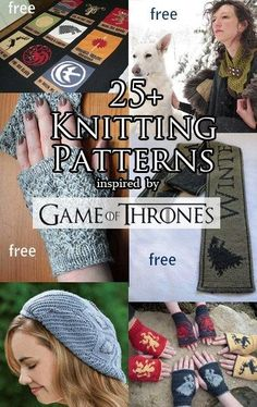 Knitting patterns inspired by Game of Thrones - I've updated my post with ne. Loom Knitting, Knitting Patterns Free, Knit Patterns, Free Knitting, Yarn Projects, Knitting Projects, Crochet Projects, Crochet Game, Knit Or Crochet
