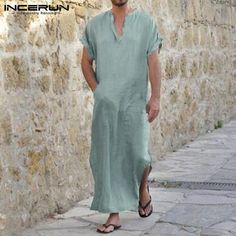 INCERUN 2018 Full Length Short Sleeve Robes Men V-neck Solid Casual  Loungewear Vintage Loose Islamic Arab Kaftan Pajamas S-5XL. Arab Fashion ... 50d700f96