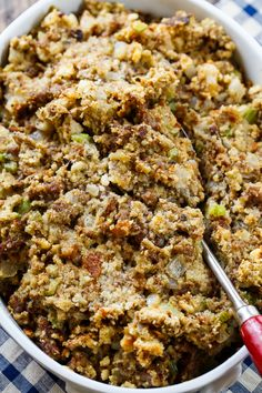 Sausage Stuffing Sausage Stuffing made with Johnsonville ground sausage, onion, celery, sage, and a can of cream of chicken soup. Makes such a flavorful Thanksgiving side. Stuffing Recipes For Thanksgiving, Thanksgiving Sides, Holiday Recipes, Turkey Stuffing Recipes, Thanksgiving Dressing, Thanksgiving Desserts, Christmas Desserts, Dinner Recipes, Kitchens