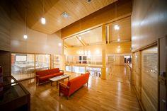Sella, Jurva, Kurikka, Finland, wood architecture, conference room, lobby, public space, public interior