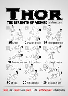 Thor workout: the Strength of Asgard What it works: full body; workout with the main accent on strength and muscle building. Quads, triceps, biceps, chest, abs