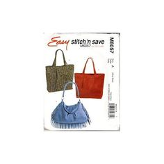 Amazon.com: M6057 Easy Stitch 'n Save Hobo Bags by McCalls: Arts, Crafts & Sewing