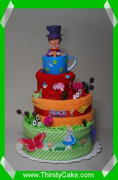 Alice in Wonderland Mad Hatter Tea Party Diaper Cake
