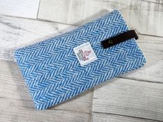 Smart Phone Sleeve in light blue and white by HandbagsandHome