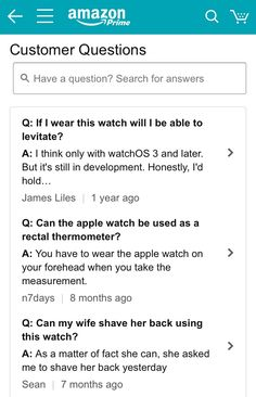 Questions found on the Amazon page for Apple Watch
