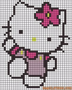Hello Kitty flower perler bead pattern --- could use this for perler OR cross stitch Alpha Patterns, Perler Patterns, Loom Patterns, Beading Patterns, Cross Stitch Patterns, Beaded Cross Stitch, Cross Stitch Embroidery, Crochet Pixel, Kawaii Cross Stitch