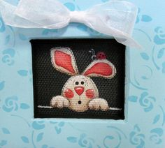 Bunny and Lady Bug Whimsical Art Framed in by barbsheartstrokes