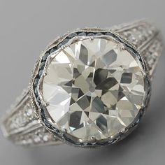 Edwardian Engagement Ring European-cut Diamond