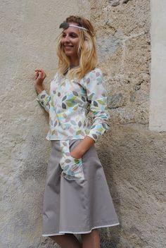 Bluse aus Bio-Stoff Blättermix, Foto: Heidi Leitner /Design Tanja Leitner