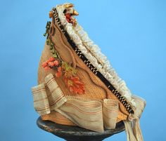 1860 Original Trims on Fancy Straw Ladies Spoon Bonnet w Ribbons | eBay