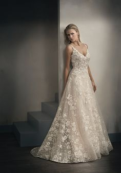 A-line bridal gown with embroidery lace | Jasmine Couture t192062 | http://trib.al/dgWZW4O