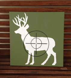 Hand painted deer silhouette with target on canvas by Justthewoods, $30.00