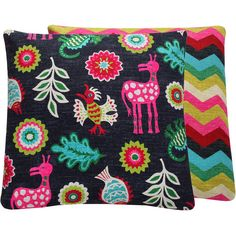 Floral Colorful Reversible Throw Pillow by ChloeandOliveDotCom, $41.00