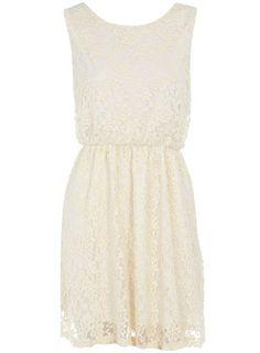 Cream sleeveless lace dress