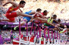 Wenjun Xie of China, Konstantin Shabanov of Russia, Aries Merritt of the United States, Andrew Turner of Great Britain and Selim Nurudeen of Nigeria compete in the Men's 110m Hurdles Semifinal on Day 12 of the London 2012 Olympic Games at Olympic Stadium on August 8, 2012 in London, England.