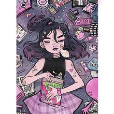 2 0 0 0 s ! ✨ Flip phones, lipgloss, CDs & gr8 cartoons ! ☎️ I still have to work on the 80s, 70s and 50s which I scratched them all cause I like to dig my own grave. ⚰️ #ripme • • • #illustration #2000s #tbt #20thcenturyreturn #hamster #gorillaz