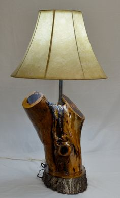 Hand Made Rustic Cedar Log Lamp by JaynasCountryStore on Etsy, $195.00