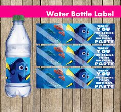 """Finding Dory Water Bottle Label, INSTANT DOWNLOAD, Printable party supplies, dory party decoration, birthday dory supplies, 8.5"""" x 11"""" Sheet by PartyWithMeCreations on Etsy https://www.etsy.com/listing/386244878/finding-dory-water-bottle-label-instant"""