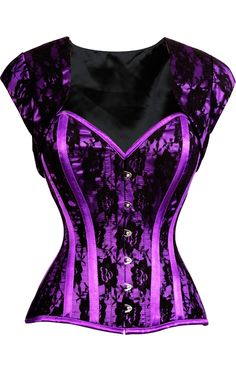 Rock out in a perfectly purple and black corset with detachable bolero. A fully steel boned corset.