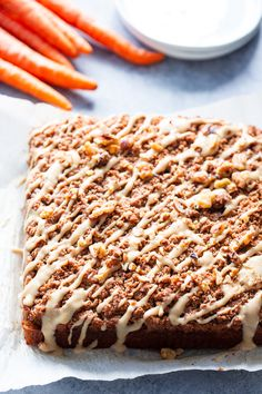 Sweet and moist with lots of cinnamon crumb topping this carrot cake coffee cake is sure to become a favorite! Its perfect for serving to guests or making ahead of time as a grab and go breakfast. It's gluten-free dairy-free paleo and family approved! Paleo Sweets, Paleo Dessert, Gluten Free Desserts, Healthy Desserts, Gluten Free Recipes, Dessert Recipes, Paleo Food, Cake Recipes, Gluten Free Coffee Cake