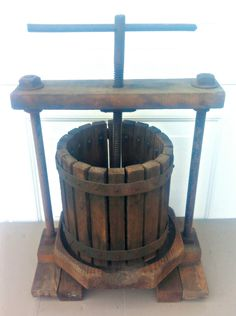 Antique Vintage Wood Fruit - Wine - Apple Press - PICK UP ONLY by VintageRelics802 on Etsy
