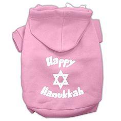Mirage Pet Products Happy Hanukkah Screen Print Pet Hoodies, XX-Large, Grey
