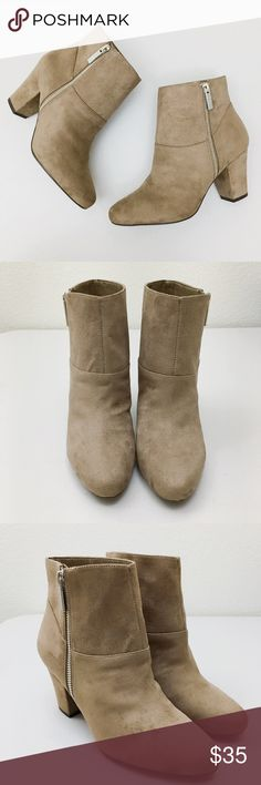 BCBGeneration  Ankle Bootie NEW Without Tag • Gorgeous Bootie with a sophisticated look • Block heel • Stretch in shaft and comfortable • Outer side zippers • No Defects • Color : Taupe BCBGeneration Shoes Ankle Boots & Booties