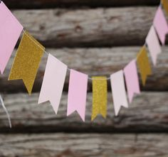 Gold Pink Paper Flag Photo Backdrop, Paper Garland, Party Decoration, Photo Booth, Elegant