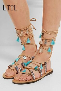 59.41$  Watch here - http://ali9rb.worldwells.pw/go.php?t=32710974427 - Summer Newest Women  Sandals Fringe Embroidery Cross Strap Ethnic Style Mixed Colors Flat With Lady Shoes Ankle Strap 59.41$