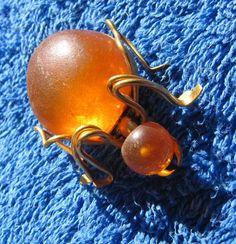 Natural Baltic Amber 6 gr brooch pin spider USSR jewelry gemstone ЯК2 #Handmade