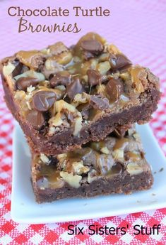 Six Sisters Chocolate Turtle Brownies are loaded with chocolate, caramel and nuts! A family favorite brownie!