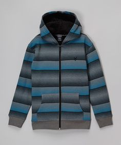 This Zoo York Hudson Blue Stripe Sherpa Zip-Up Hoodie - Boys by Zoo York is perfect! #zulilyfinds