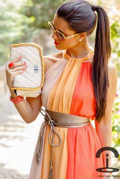 Love the dress and waist belt!...   Crimenes de la Moda: DIY: Neon chain handbag