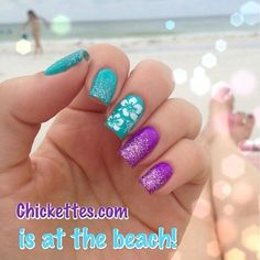 Turquoise and purple with white Hawaii flower and glitter