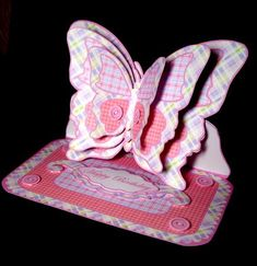 Layered butterfly easel pink patchwork on Craftsuprint designed by Carol Dunne… Craft Tutorials, Craft Projects, Project Ideas, Craft Ideas, 3d Cards, Easel Cards, Butterfly Mobile, Baby Shawer, Sticky Pads