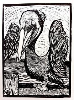 pelican lino cut by Joe Hodnicki